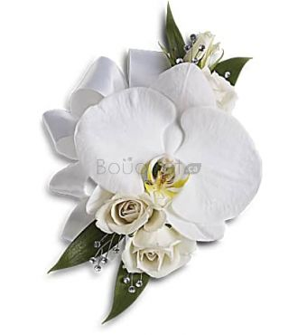 BOUTONNIERE ORCHIDEE ET ROSE BLANCHES